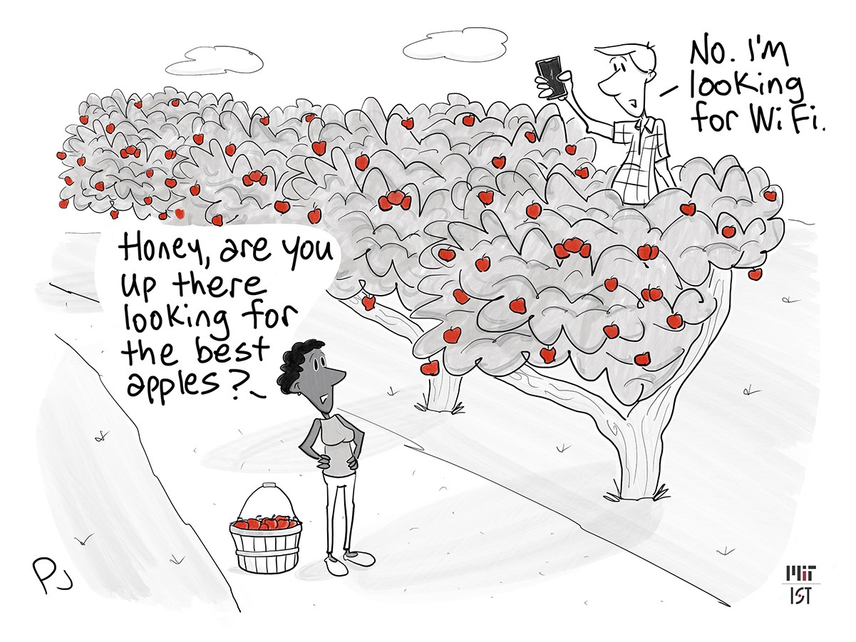 """Cartoon of a couple apple picking. The man is up in a tree holding his cellphone. The woman looks up at him and says """"Honey, are you up there looking for the best apples?"""" He says """"No. I'm looking for WiFi."""""""