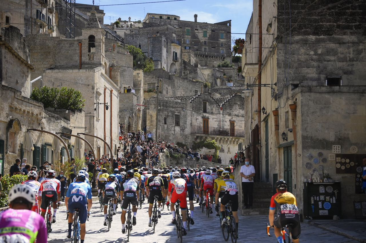 Cyclists race during the early days of Giro d'Italia 2020
