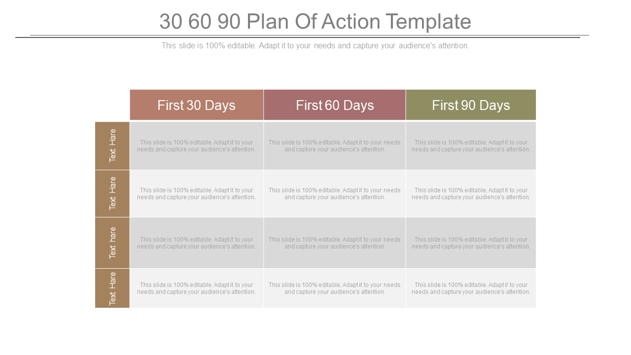 30 60 90 Action Plan PPT Template