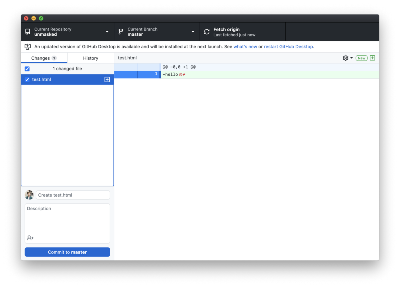Github desktop app with changes
