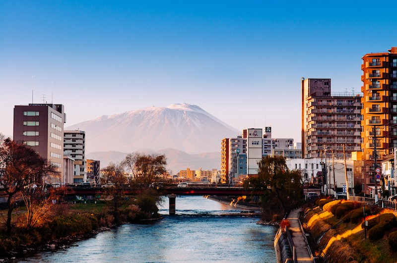 Mt. Iwate as seen from Iwate Prefecture's capital city of Morioka