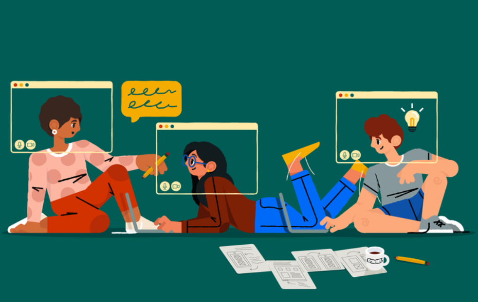 An illustration of people working together remotely.
