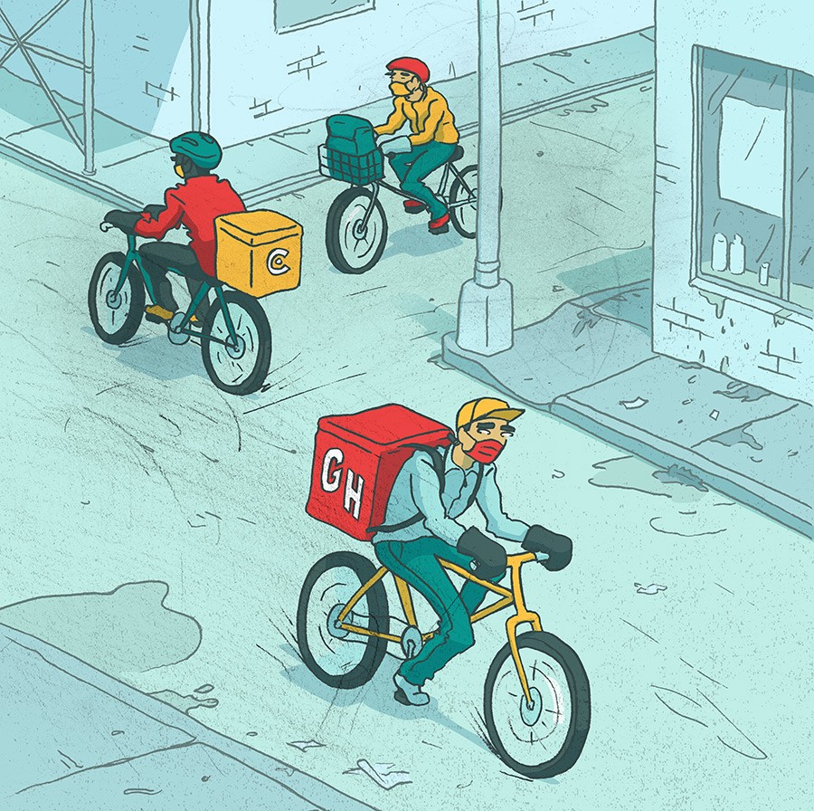 Delivery bicyclists during the pandemic.