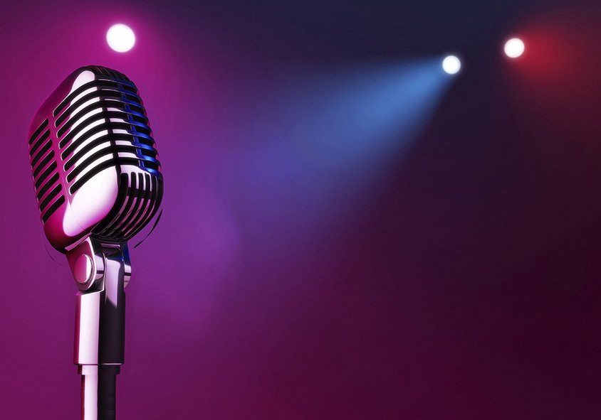 Photo of microphone and spotlights
