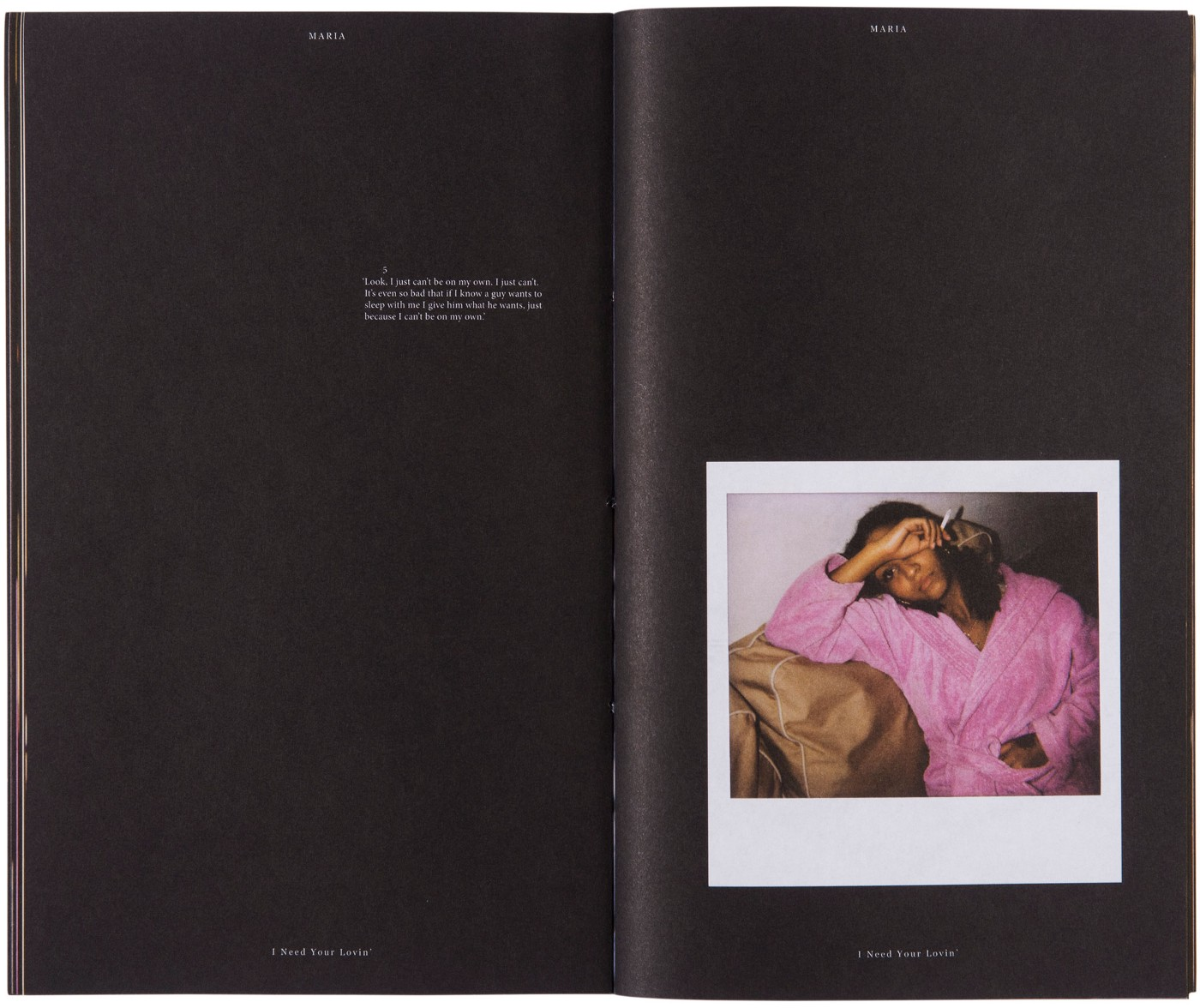Photograph of an inside spread showing the black paper and a polaroid photograph of the woman on the right