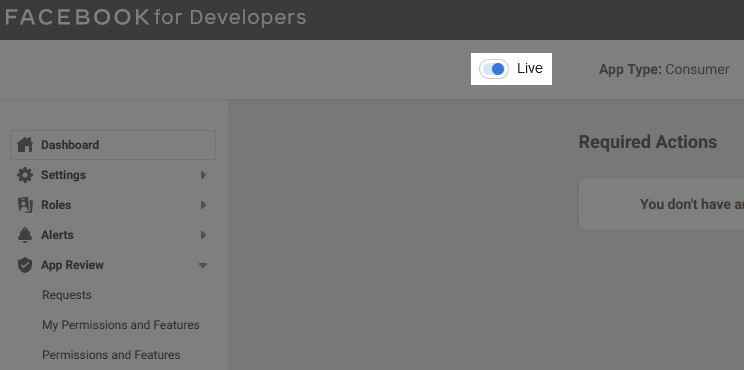 """The """"Live"""" toggle enabled"""