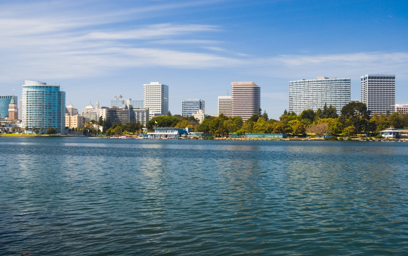 Lake Merritt with Oakland skyline.