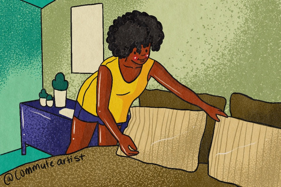 Illustration of Woman making her bed