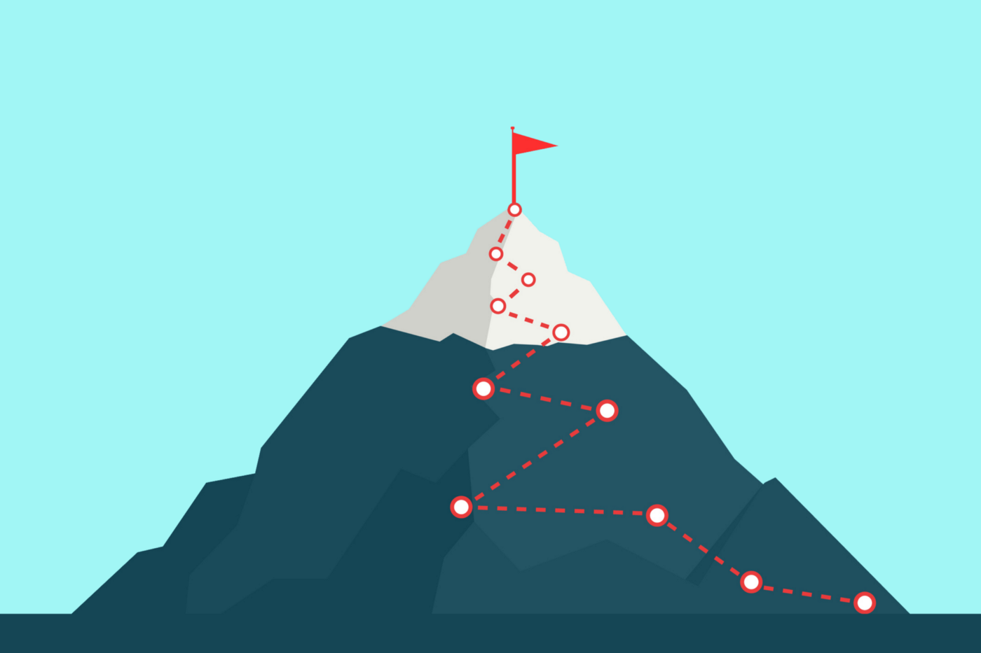 Illustration of a mountain with a red flag at its peak and a red dotted zigzag up its face, representing a trail.
