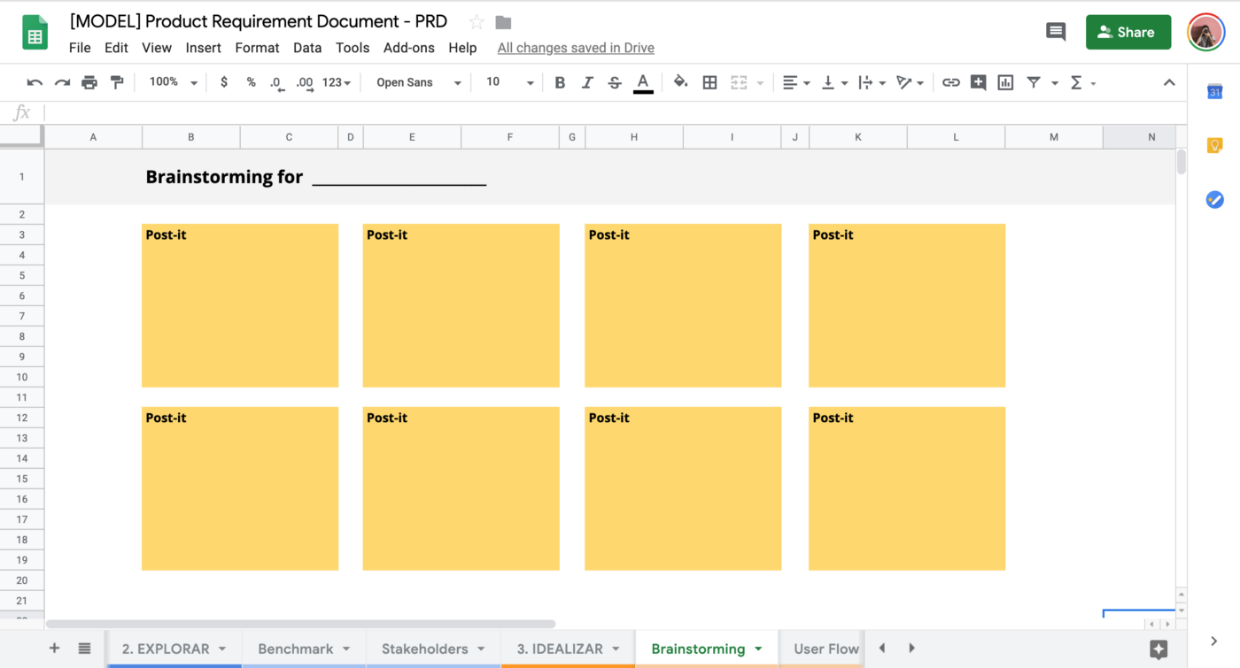 """A Google Sheets document which has the Product Design process and it is opened in a tab called """"Brainstorming""""."""