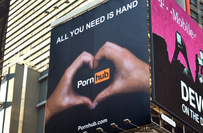 Porn Hub bought a billboard in New York's Times Square promoting their site. Photo courtesy of the Verge.