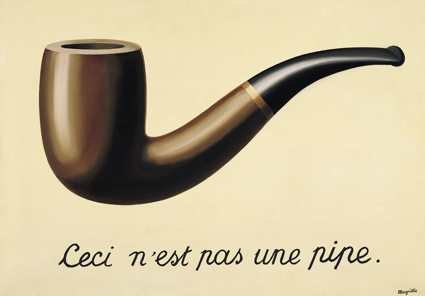 The Treachery of Images or Ceci n'est pas une pipe (This is not a pipe) by René Magritte