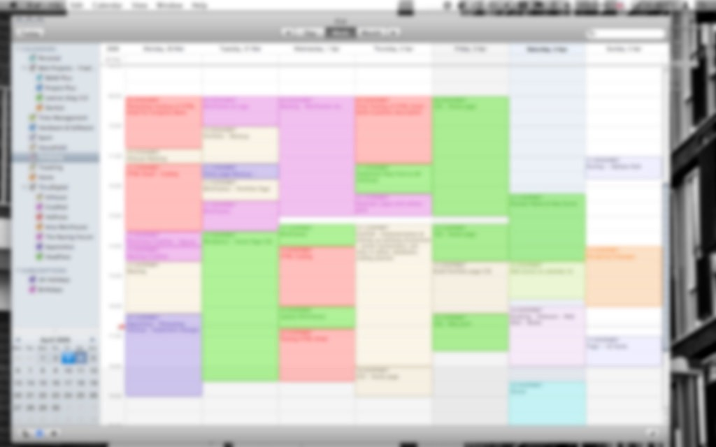 An out-of-focused but totally packed weekly schedule