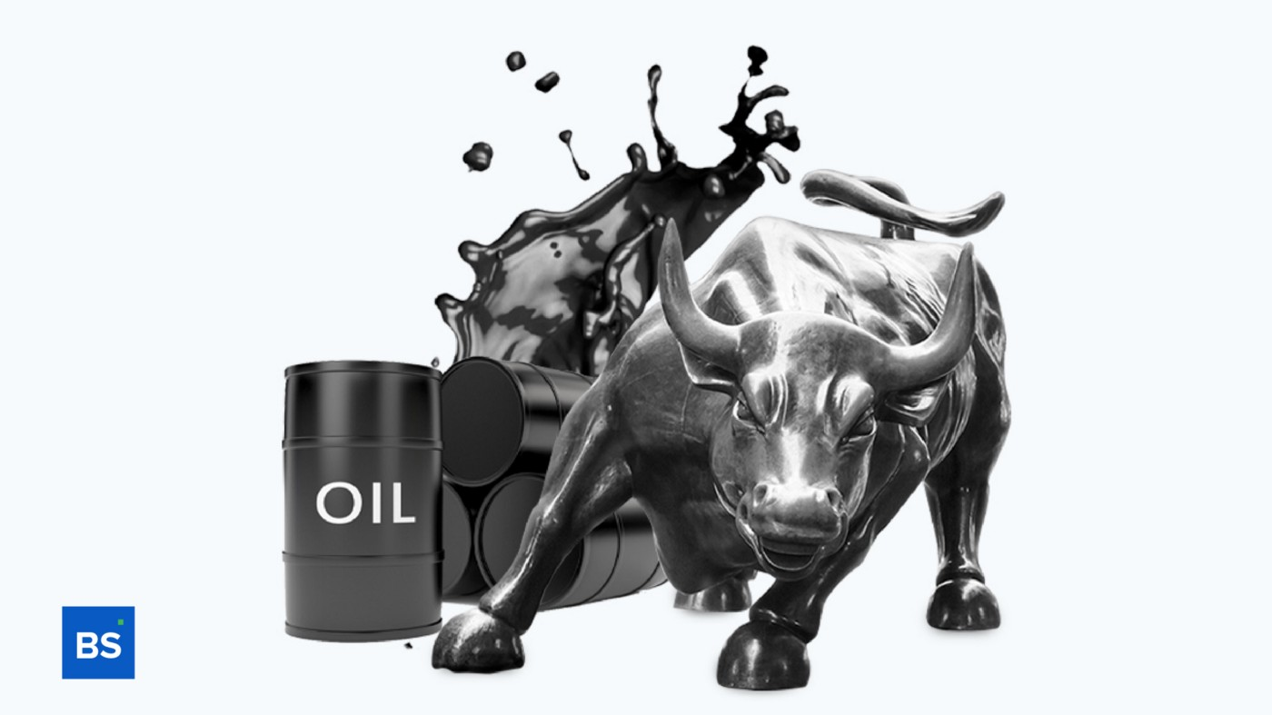 A photo of oil and a bull