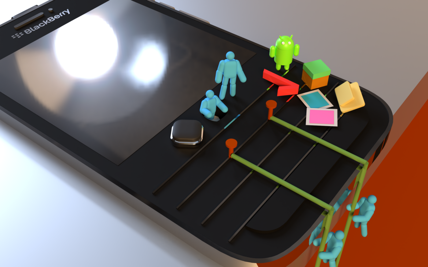 A rendering of a Blackberry smartphone with 3D characters hanging out around the phone.