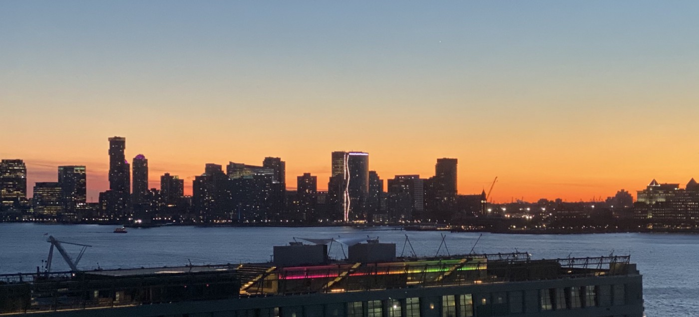 A view of the sunset, as seen from Vimeo's headquarters in NYC