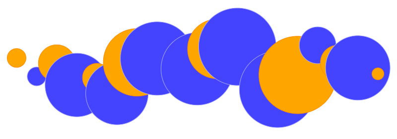 Overlapping orange and blue circles