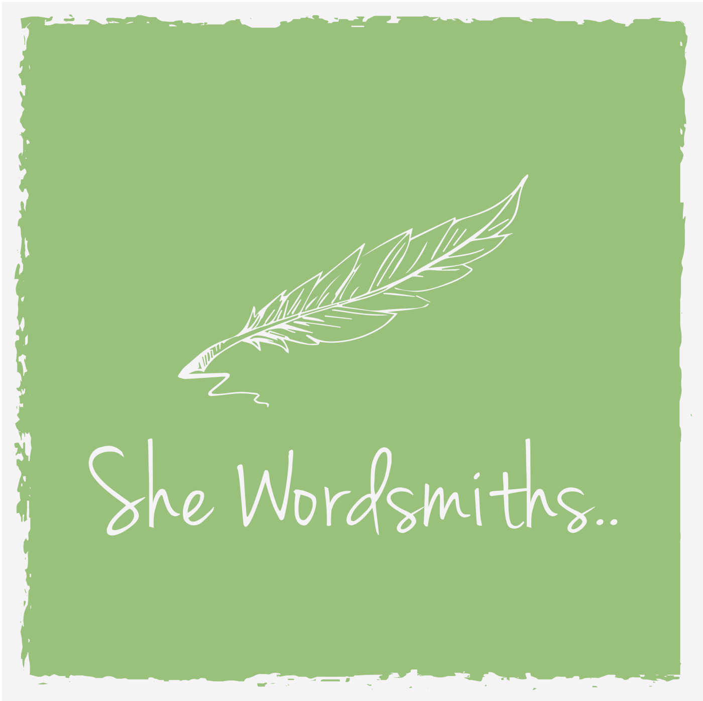 She Wordsmiths logo is a quill and text in ivory on a pistachio green background. She Wordsmiths ends in two ellipsis points