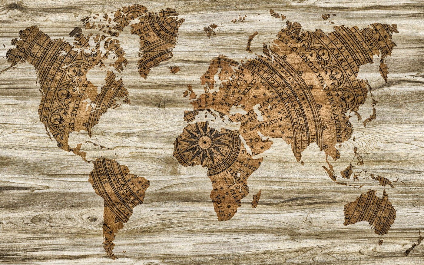 A map of the world against a wooden background.