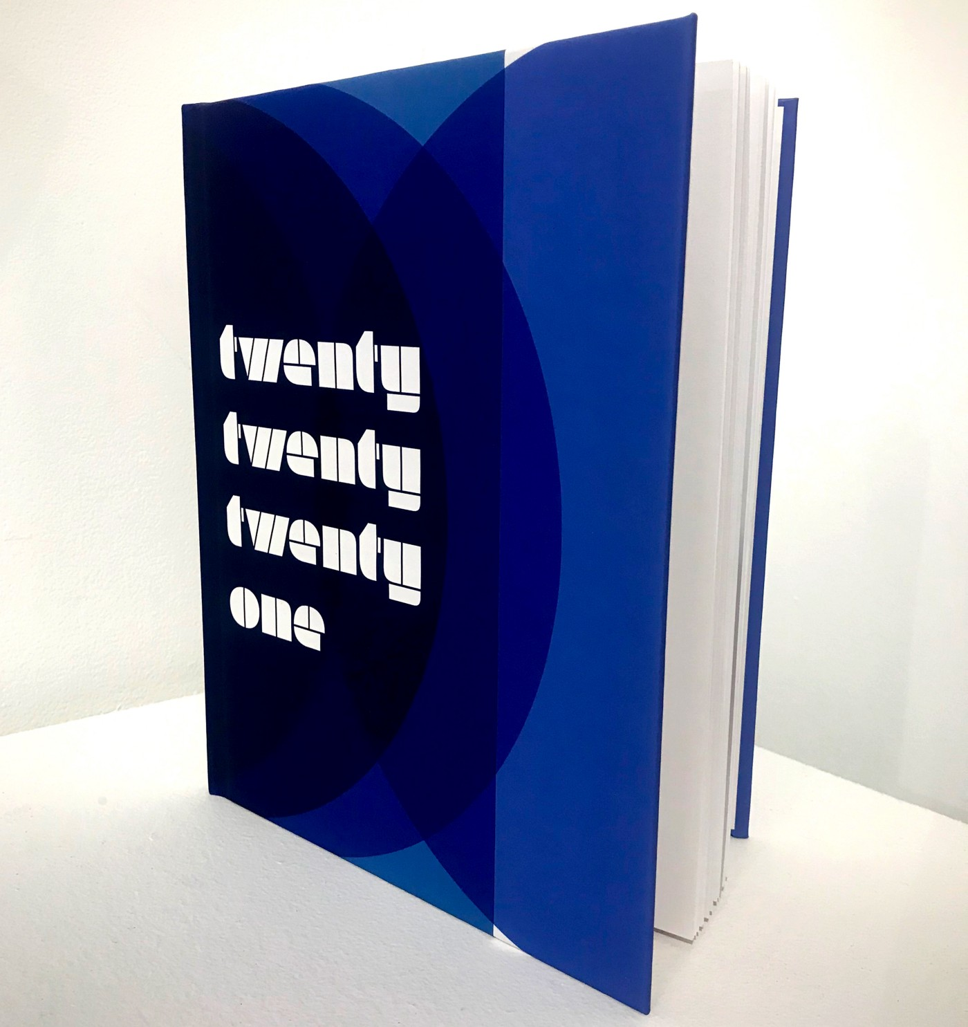 """A book, resting upright and slightly open, rests on a white surface witha white background. The book's cover has blue circular forms in an abstract composition, with the title """"202021"""" in white typography."""