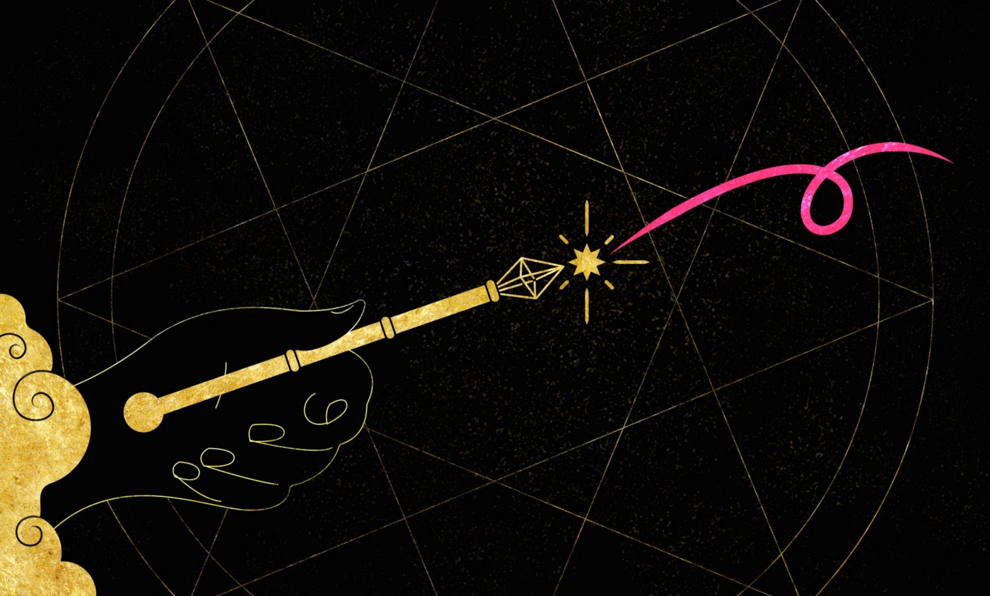 Hand holding a magic wand with a pink proofreading delete mark emitting a spark from the end over a background sigil.