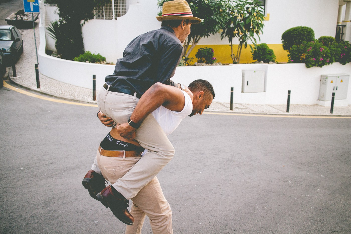 I'm giving my Dad a piggy-back