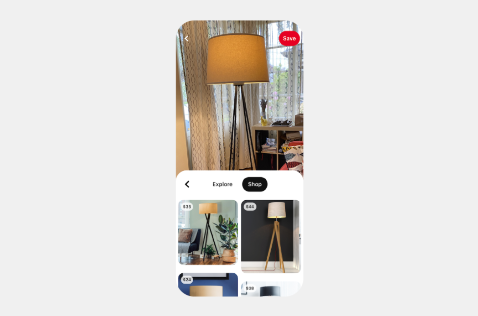 Pinterest image search and shop feature