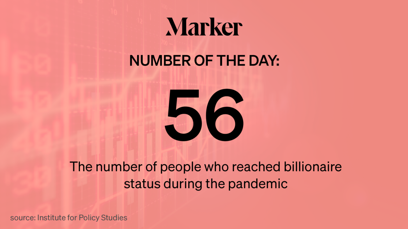 """""""56—The number of people who reached billionaire status during the pandemic"""" text w/ generic stock market graph background"""