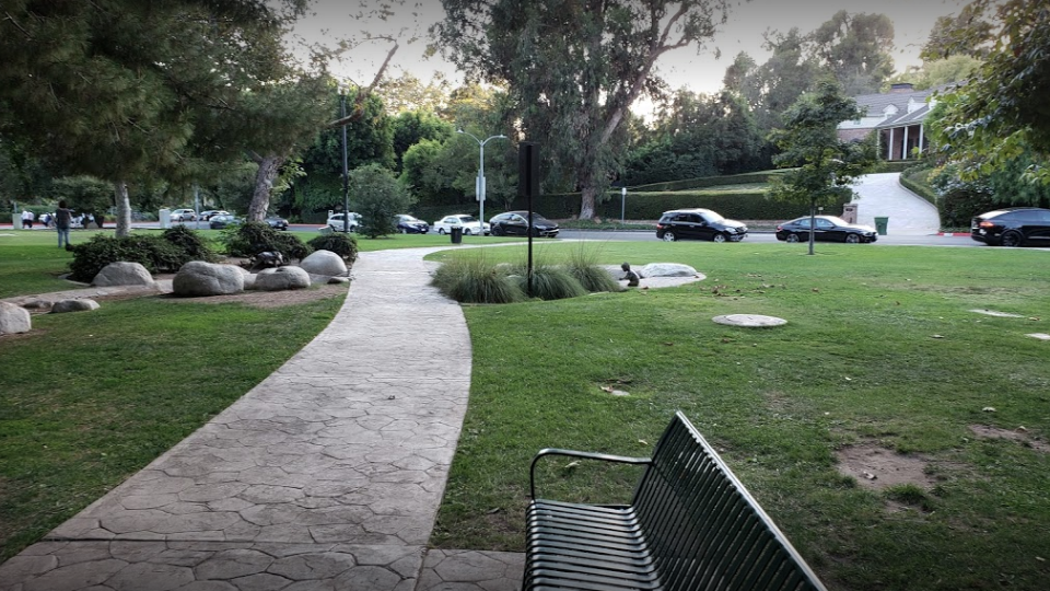 The sidewalk in Coldwater Canyon Park in Beverly Hills