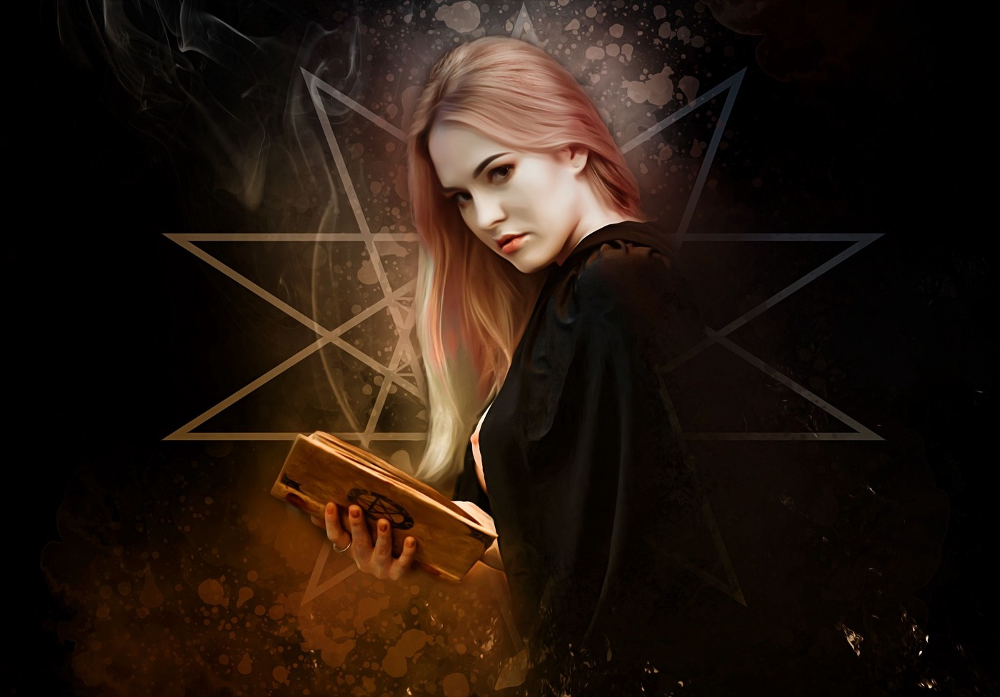 witch, holding a book as though she's casting a spell for revenge