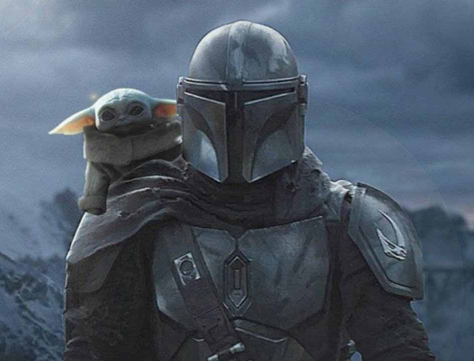 Mandalorian carrying baby Yoda on his back.