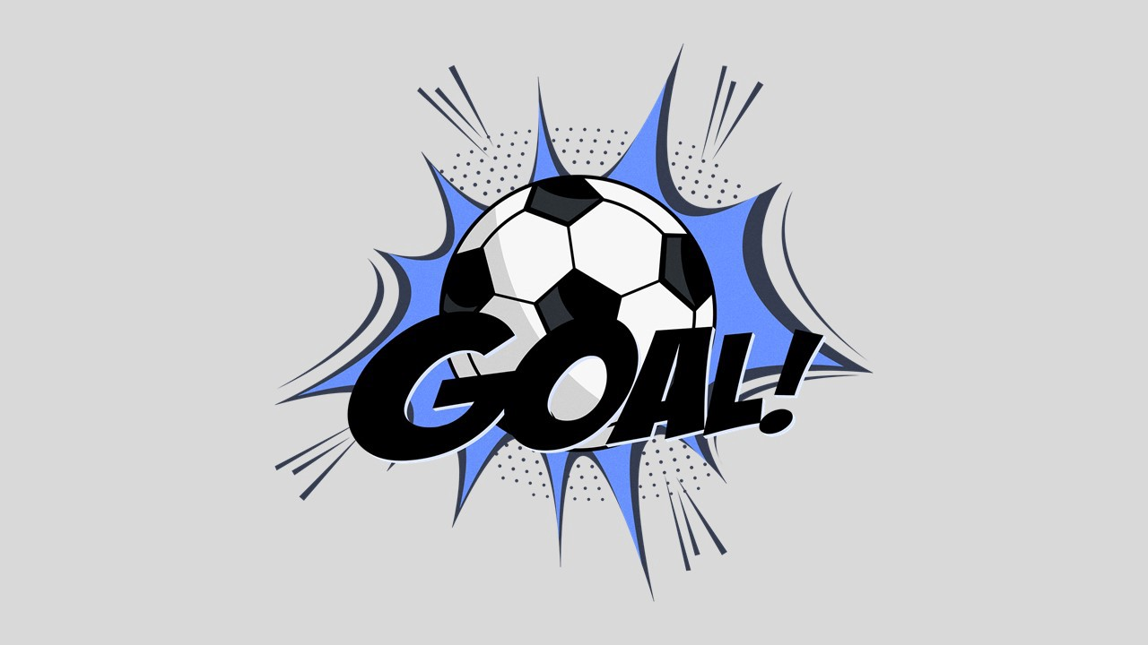 "Clipart of a soccer ball with the word ""Goal"" superimposed over it."