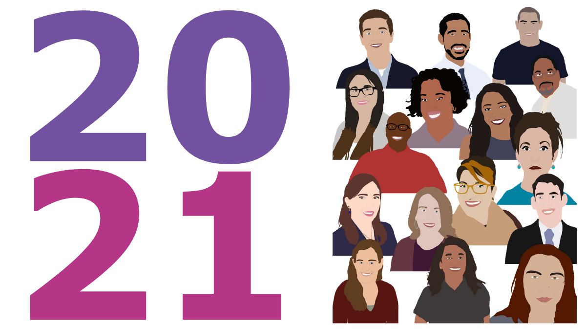 2021 in giant pink and purple text and a graphic of colored paint-like illustrations of the headshots of all 16 fellows.