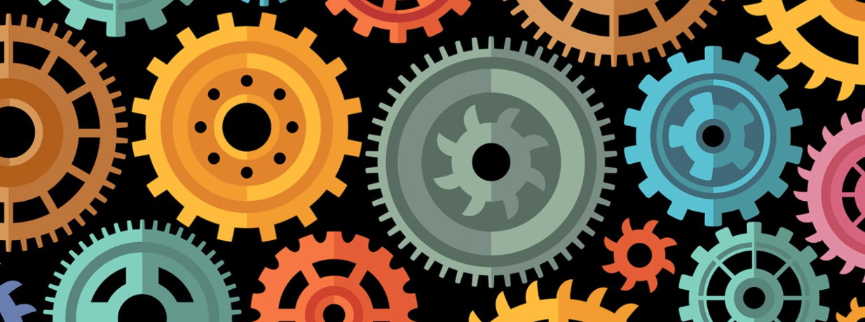 orange, blue, pink, green, and brown gears on a black background