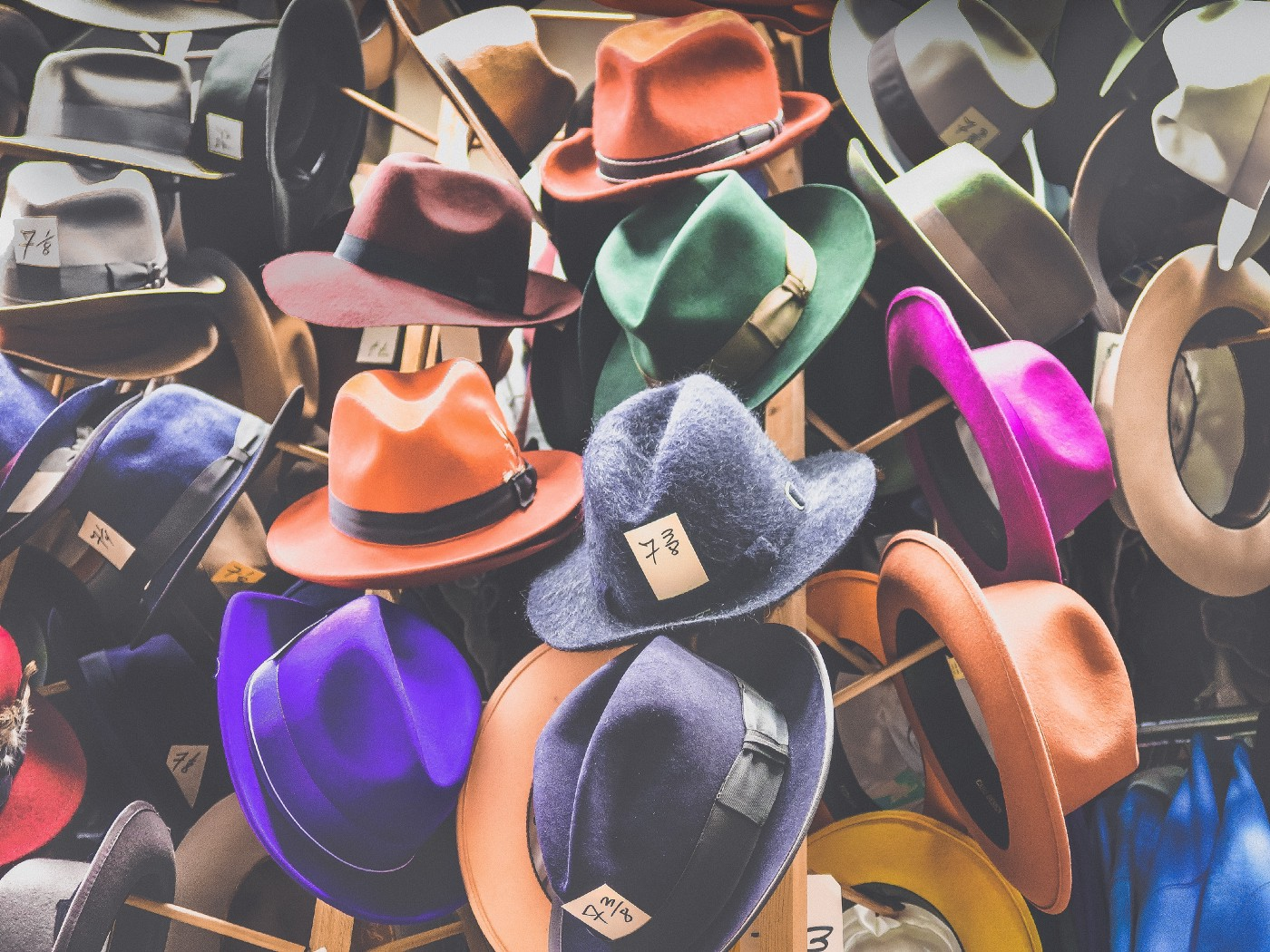 Image of colorful hats on store wall