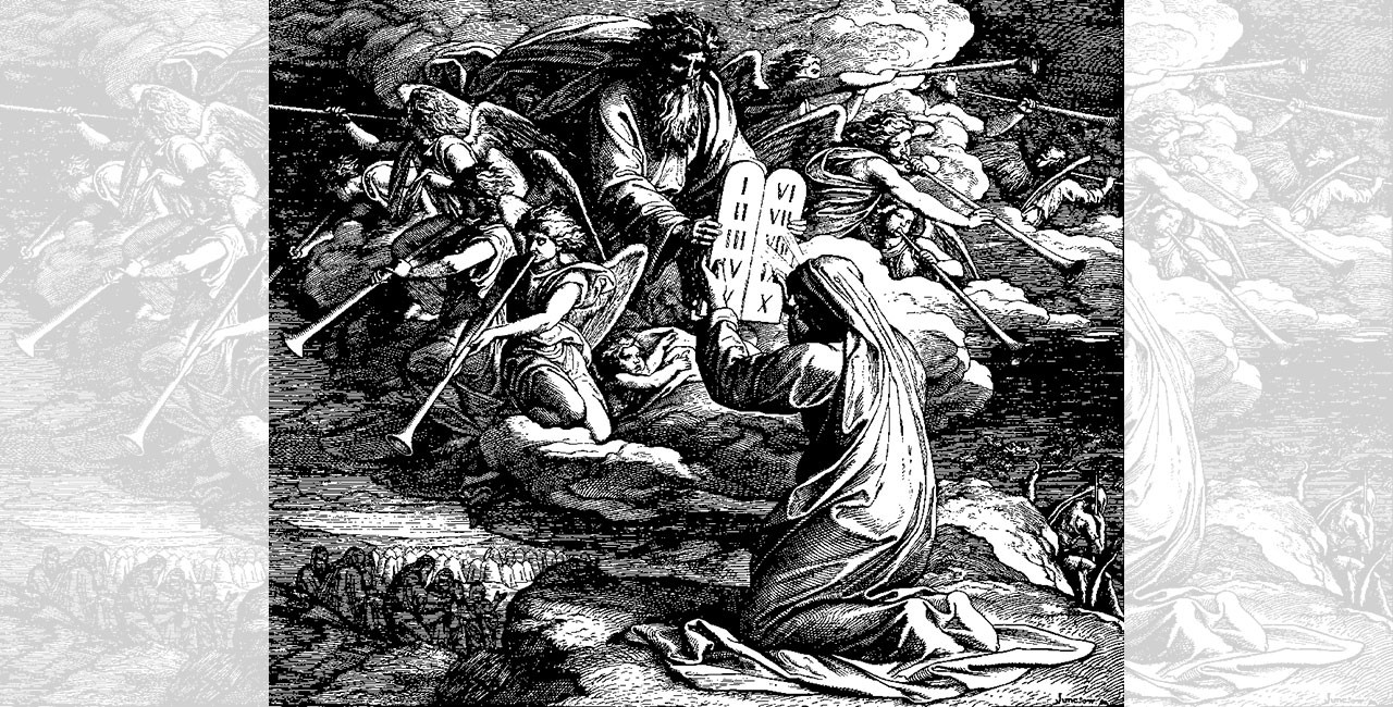 Woodcut of God presenting the 10 Commandments to Moses from a cloud as angels blow trumpets, with a view of the people below the mountain