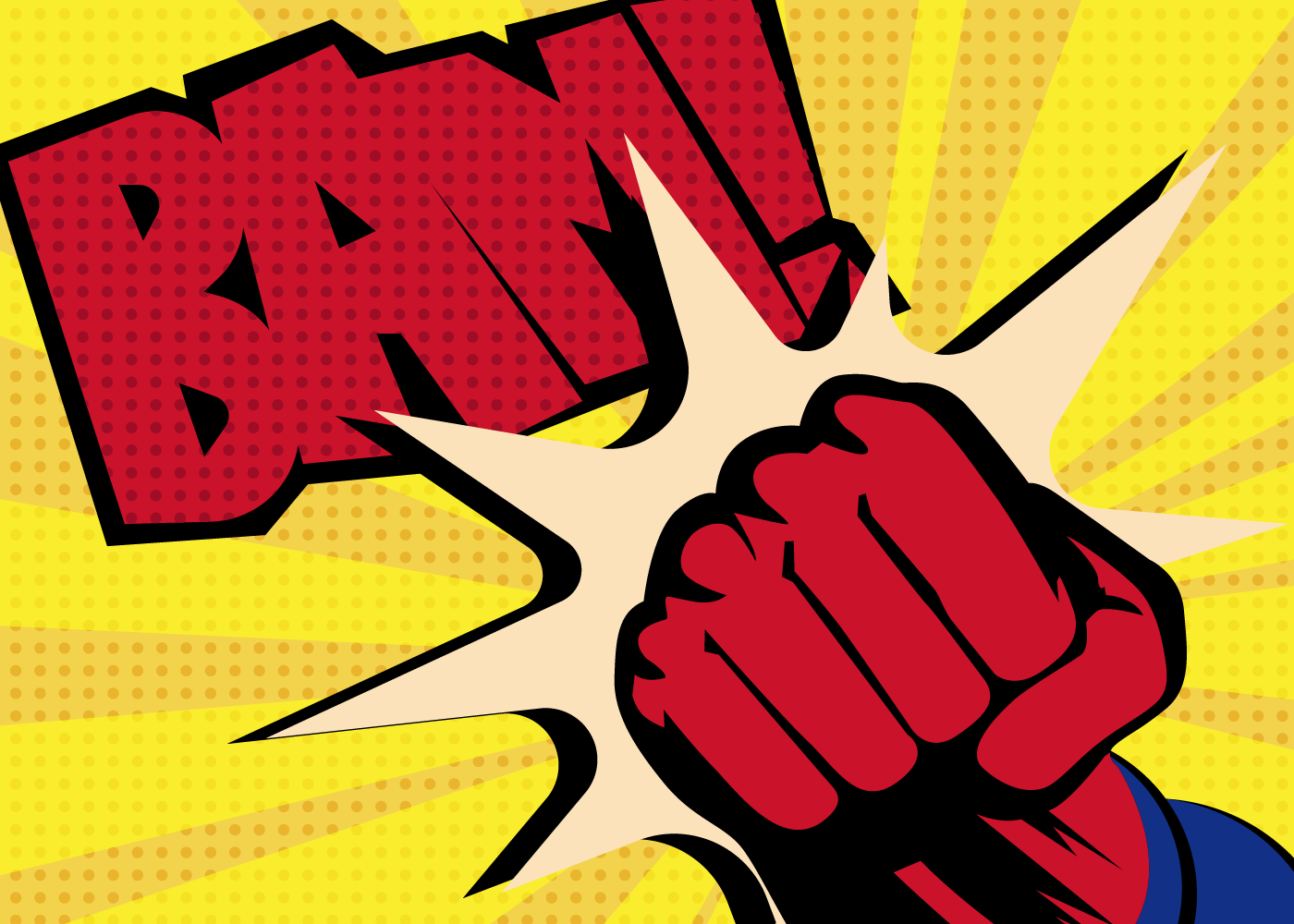 """Comic book drawing of a fist punching and the word """"BAM!"""""""