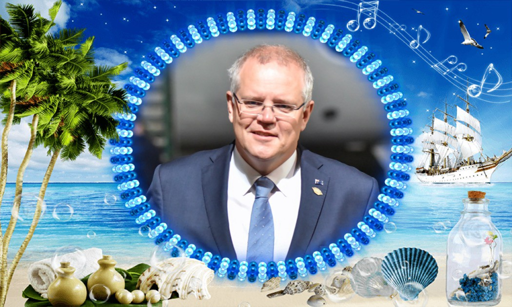 Image of Scott Morrison edited to appear like a holiday postcard.