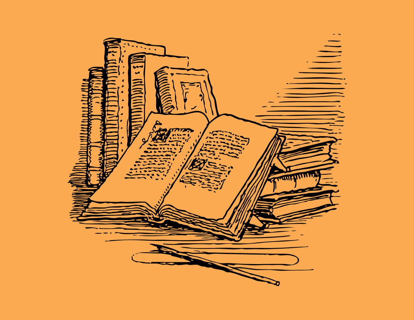 """Black and white """"outline"""" image of an open book among many novels. Pen nearby."""