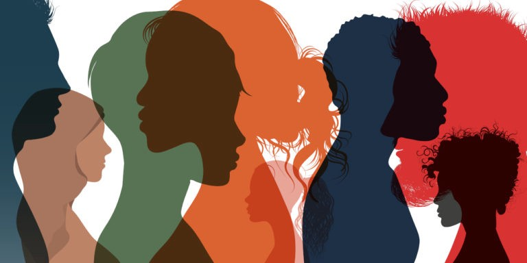 A collage of transparent silhouettes of different people's profiles. Each silhouette is a different color (e.g. green, orange, blue) and when one overlaps with another it creates a third color.