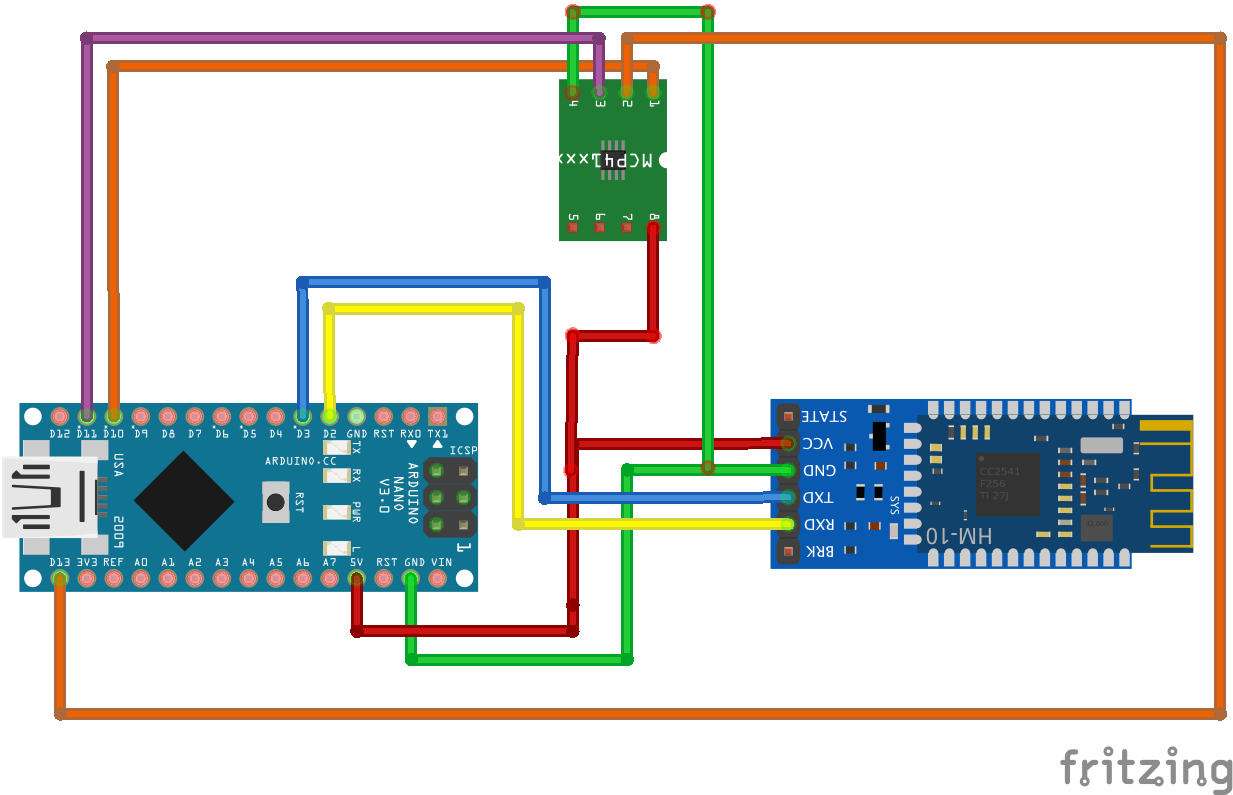 Controlling a digital potentiometer with an Android device over BLE