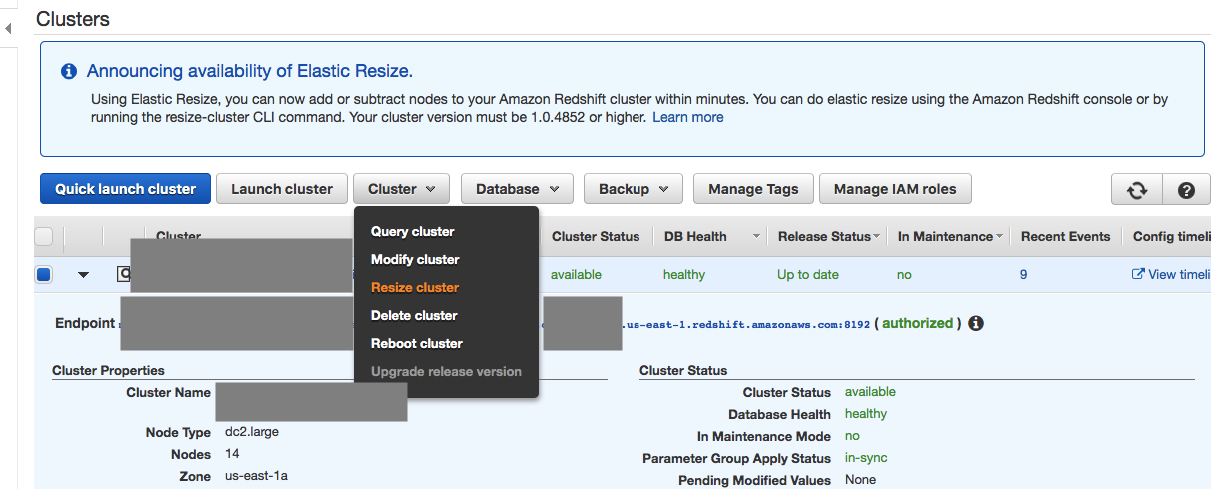 How to migrate AWS RedShift dc2 to ds2 node cluster