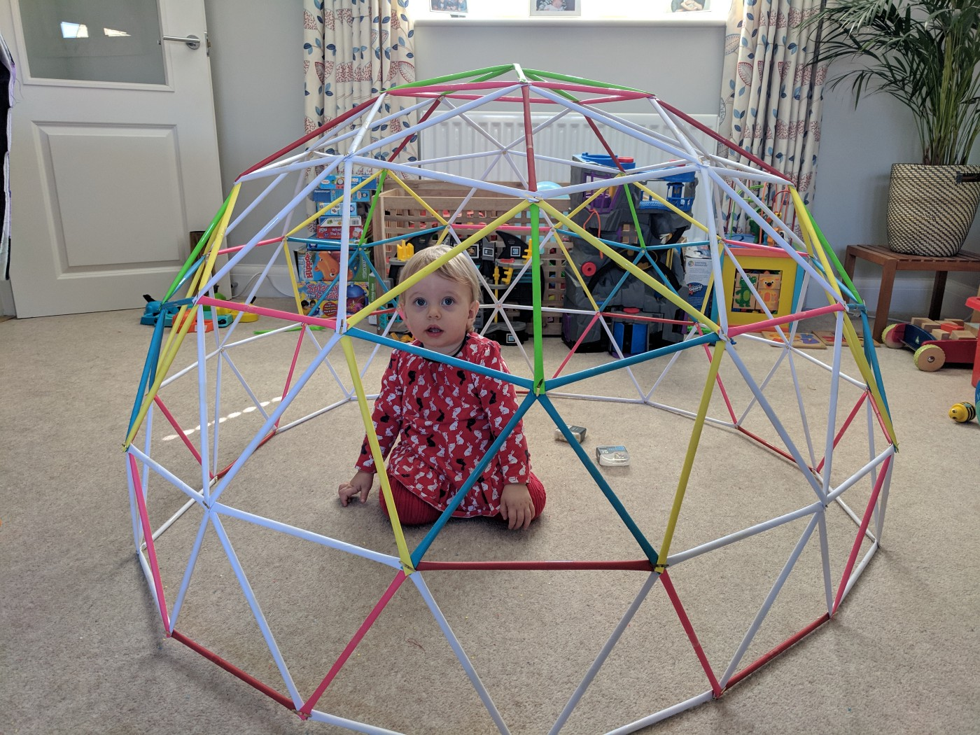 Dome made out of straws.