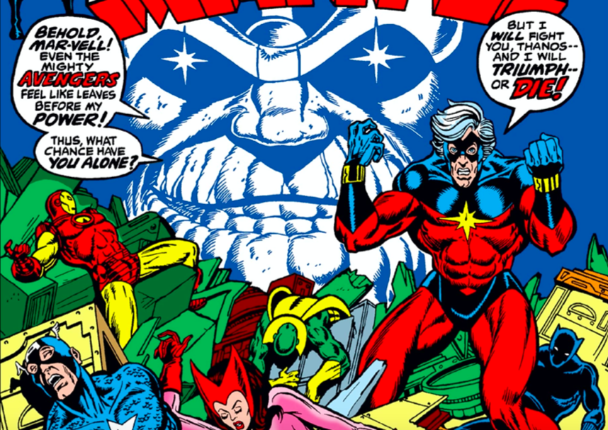 Captain Marvel vows to defeat Thanos as he taunts the fallen Avengers