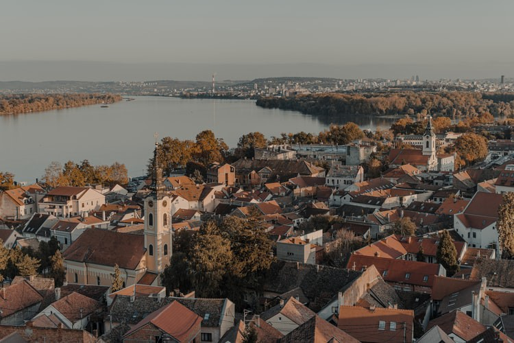 Aerial view of city buildings during daytime — Zemun and Belgrade