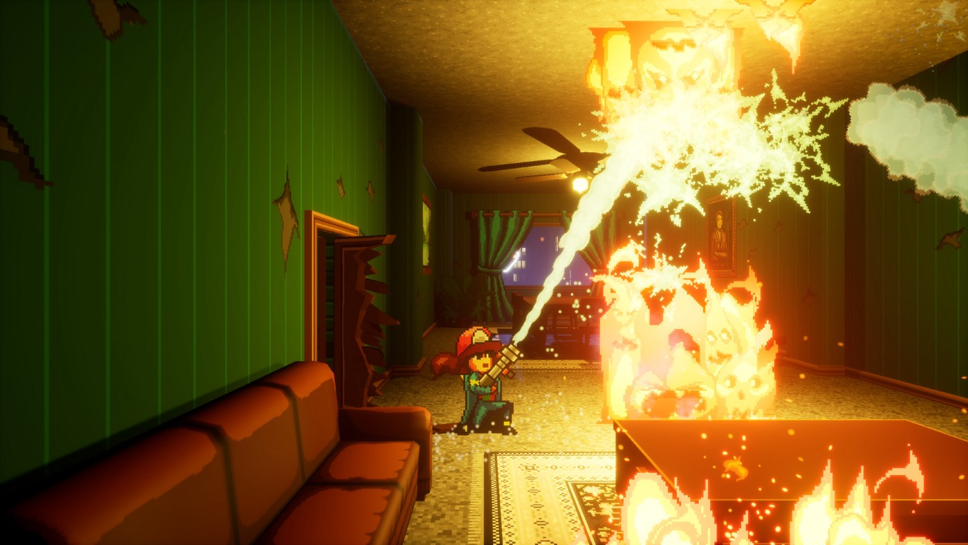A screenshot from the reveal trailer of Firegirl, where she is blasting a jet of water from her fire hose at some fire monsters on the ceiling.