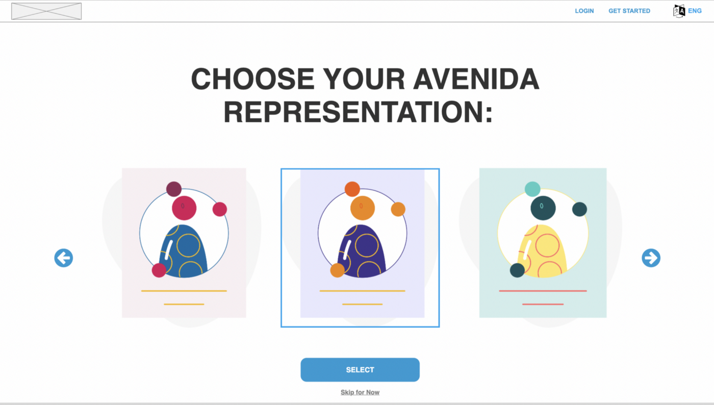 """Image of the """"Choose your representation page"""" of Avenida's site."""