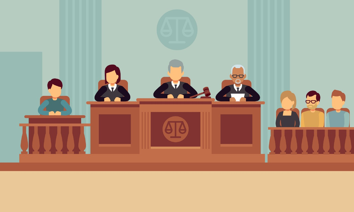 Courtroom Illustration with a witness, a panel of judges, and a jury.
