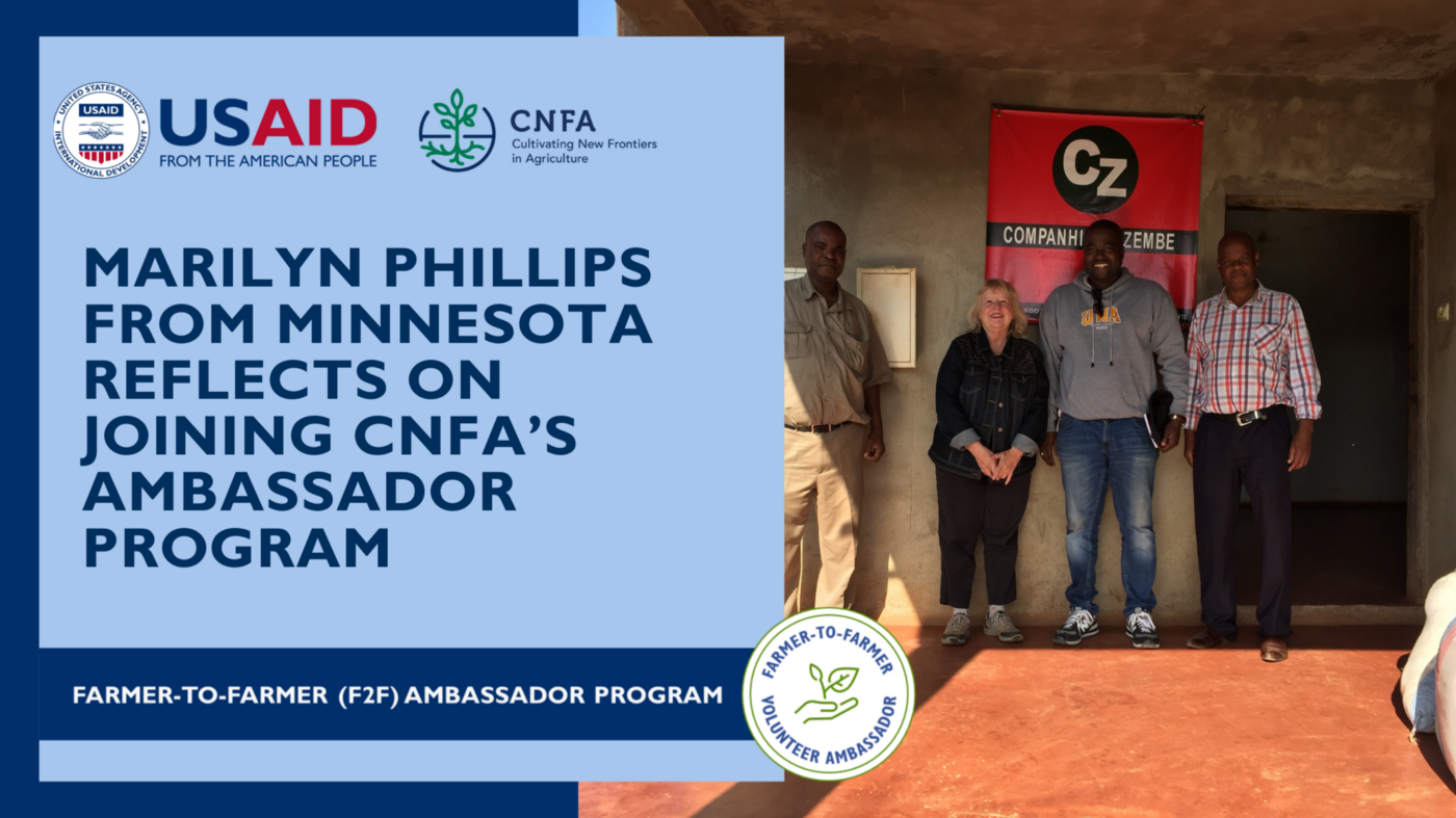 """Group of farmers with Marilyn Phillips with header text: """"Marilyn Phillips from Minnesota Reflects on Joining CNFA's Ambassador Program."""""""