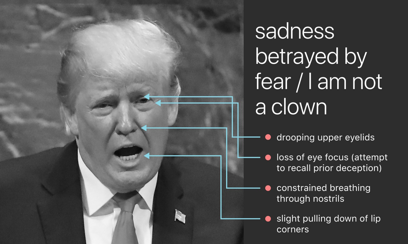 Trump's face. Lines drawn to show: • loss of eye focus (attempt to recall prior deception) • constrained breathing
